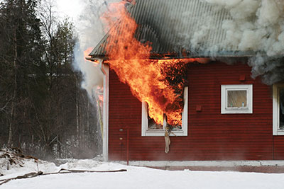 Flames exiting a window